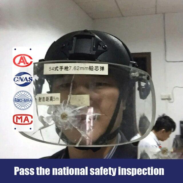 Bulletproof Helmet Tactical Helmet With Suspension Bulletproof Glass Cover Certified By National Security Inspection