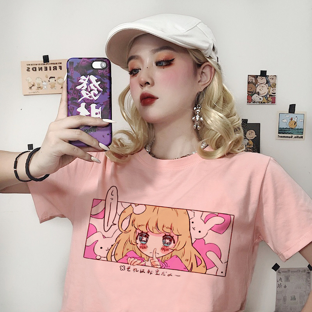 Cute cartoon sweet girls Japanese streetwear Harajuku pink fun kawaii casual tops Ulzzang vintage loose New Summer women T-shirt