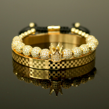 2020 Luxury Crown Charm Men Bracelet Sets Pave CZ Zircon Beads Braided Stainless Steel Bracelets For Fashion Jewelry Gift