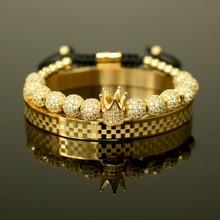 2020 Luxury Crown Charm Men Bracelet Sets Pave CZ Zircon Beads Braided Stainless Steel Bracelets For Men Fashion Jewelry Gift цена 2017