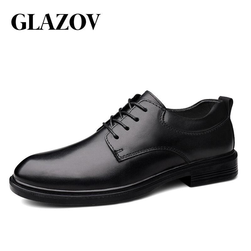 GLAZOV Mens Oxfords Shoes Genuine Leather Dress Shoe Male Wedding Shoe Social Chaussure Homme Fluff Office Formal Shoe Plus Size