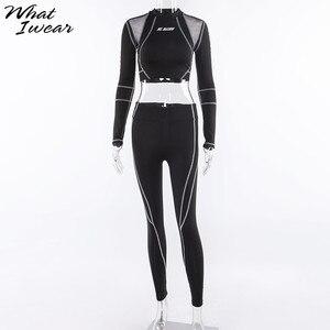 Image 5 - Vrouwen Tweedelige Set 2018 Trainingspak Casual Fitness Mode Slanke Sexy Hoge Taille Volledige Mouw Volledige Lengte O hals Brief