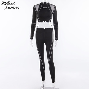 Image 5 - Women Two Piece Set 2018 Tracksuit casual Fitness Fashion Slim Sexy High Waist  full sleeve full length o neck letter