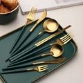 Набор посуды столовые приборы Западный столовый набор палочки вилка ложка набор ножей посуда столовое серебро черный зеленый золотой Прям...