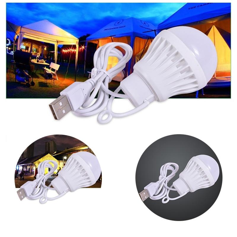 Portable USB LED Energy-saving Lamp Bulb LED Ball Bulbs For Outdoor Notebook USB Mobile Power Emergency Light Bulbs Reading Lamp