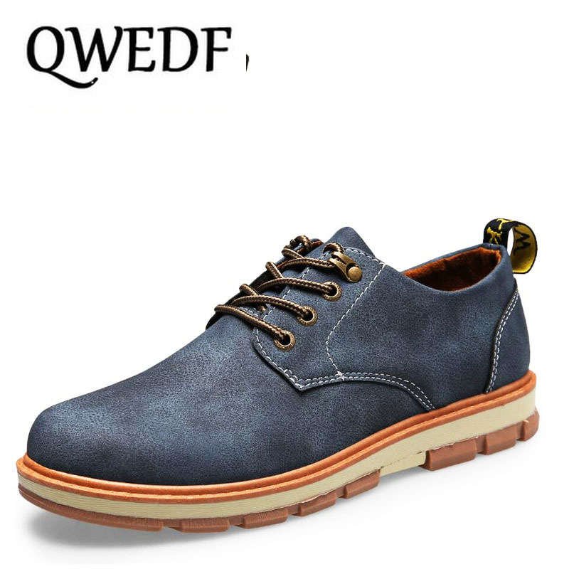 QWEDF 2019 New young Mens casual leather shoes Comfortable Lace-Up Casuals Breathable Gentleman Driving AA-017