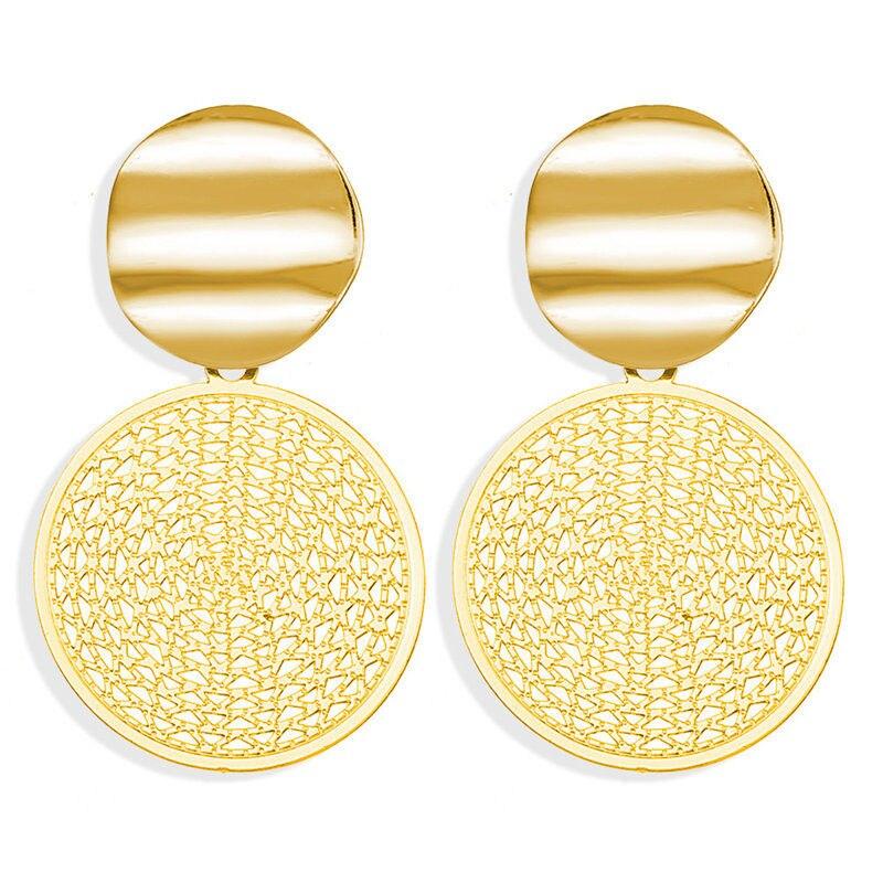 17 км винтажные Золотые круглые металлические серьги-гвоздики с блестками для женщин, модные серьги с полой сеткой, корейские ювелирные изделия, вечерние серьги, подарок - Окраска металла: EJCS90651