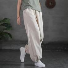 Johnature – pantalon sarouel en coton et lin pour femme, taille élastique, ample, confortable, assorti à tout, longueur complète, nouvelle collection automne 2021