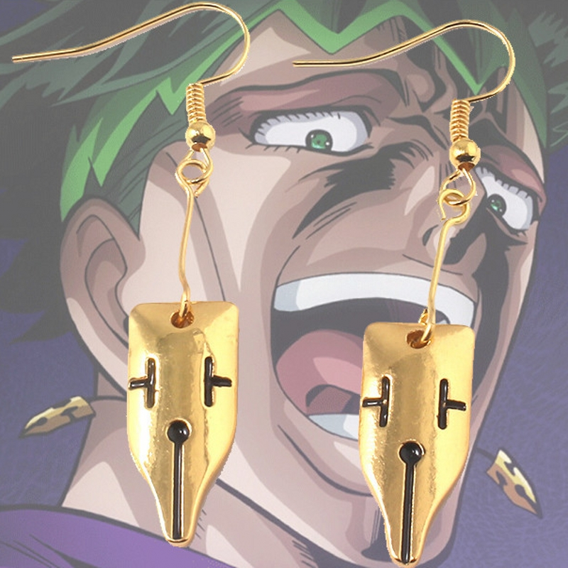 Anime JoJo's Bizarre Adventure:Diamond Is Unbreakable Rohan Kishibe Cosplay Jewelry Stud Earring Dangler Eardrop 1 Pair