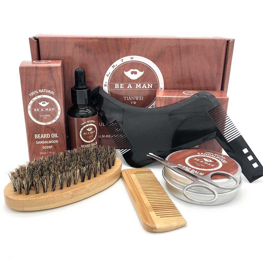 New Hot Men Beard Kit Grooming Beard Set Moisturizing Wax Beard Oil Blam Comb Essence Styling Hair Men Beard Kit Set