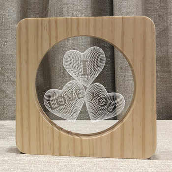 3D Wooden LOVE YOU Footprints Shadow LED Lamp Wood USB Desk Night Light Christianity Crucifix Crafts Table Gift Home Decoration