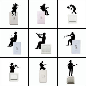 Cartoon Cowboy Playing Guitar Silhouette Switch Sticker Musical instrument Art Wall Stickers for Music Room Bedroom Home Decor