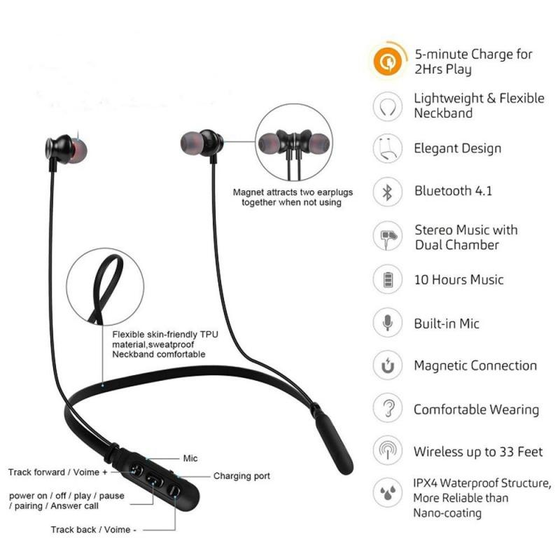 For Xiaomi M8 Wireless Bluetooth Earphones Magnetic Stereo Headset Handfree Blutooth Earphone Earbuds With Microphone Neck Hang