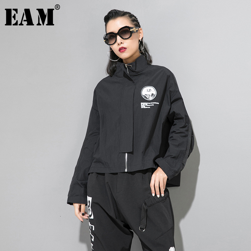 [EAM] Loose Fit Black Pattern Print Hit Color Jacket New Stand Long Sleeve Women Coat Fashion Tide Spring Autumn 2020 1B779