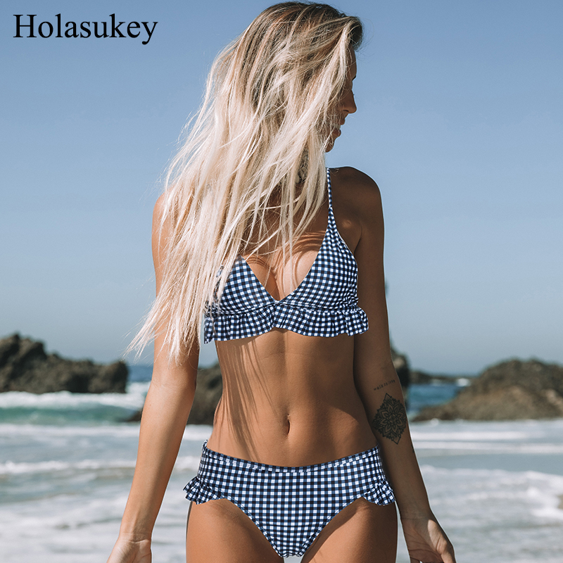 HolaSukey Plaid Swimwear <font><b>2019</b></font> Swimsuits <font><b>Sexy</b></font> <font><b>Bikini</b></font> Set Ruffle <font><b>Bikinis</b></font> Women Backless Beachwear <font><b>Summer</b></font> Bathing Suits Biquini image