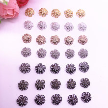 150 pçs/lote 8/10 milímetros Da Pétala Da Flor de Prata Banhado A Ouro Oco End Spacer Beads Caps Encantos Bead Para Fazer Jóias Acessórios