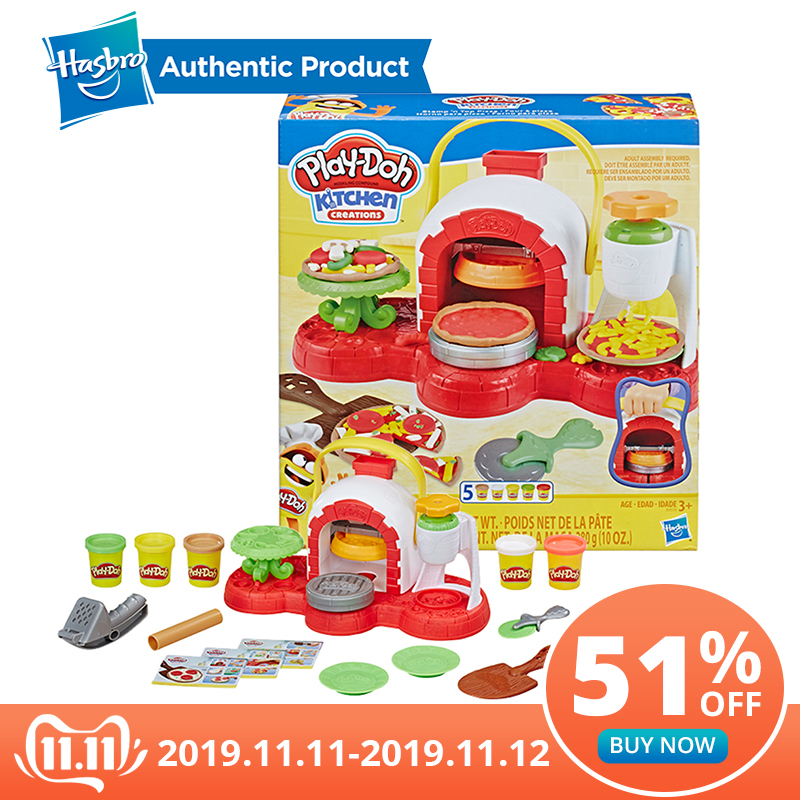 Juguete para horno de Pizza con sello y sello de Hasbro Play-Doh con 5 colores no tóxicos, creaciones de cocina, arcilla compuesta para niños, juegos divertidos