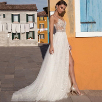 Eightree Beach Boho Wedding Dresses Beading Lace Bridal Dress vestido de noiva Bohemian Spaghetti Straps V Neck Wedding Gowns
