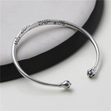 925 sterling silver Craftsmen Carve Finely Handmade Bracelets with Butterfly Patterns Opening Jewelry