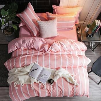 Modern Pink Stripe Bedding Set Single Double Queen King Size Duvet Covers Nordic Cartoon Quilt Cover Dot Plaid Bed Sheet Simple polka dot nordic bed linen set queen double single size children duvet cover set