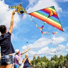 Triangular Rainbow Kite s 30M Line Triangle Custom With Handle Doll Toy
