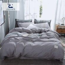 Liv-Esthete 2019 Luxury Gray Bedding Set Soft Printed Duvet Cover Flat Sheet Double Queen King Bed Linen Quilt