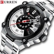 CURREN montre bracelet à Quartz pour hommes, argent et noir, bracelet en acier inoxydable, tendance, horloge