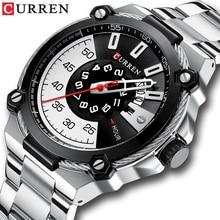 CURREN שעון כסף ושחור שעונים גברים של קוורץ שעוני יד נירוסטה בנד אופנה שעון זכר שעון גבר סגנון Reloj