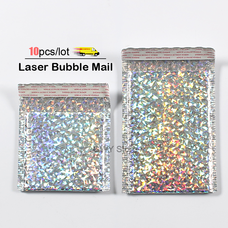 10pcs/lot Laser Bubble Mailer Poly Mailing Bags Shipping Envelopes With Bubble Shipping Packaging Envelope Mailers Padded