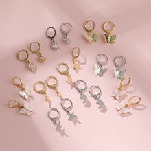 Lost lady borboleta lua estrela hoop huggies brincos para mulheres atacado moda jóias bonito pequenos brincos presentes de festa brincos