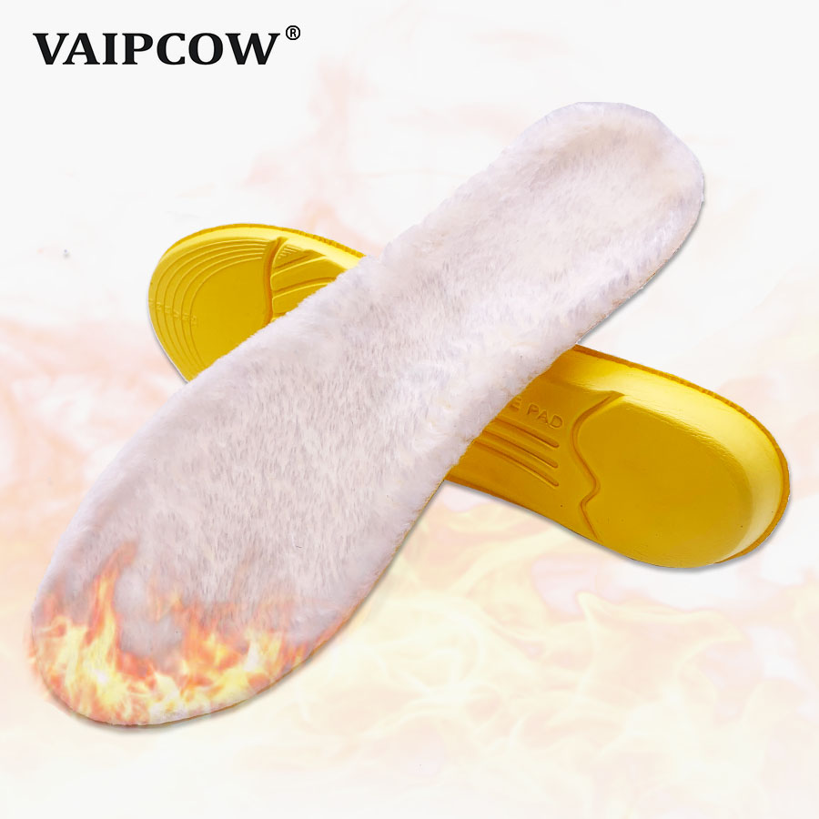 VAIPCOW Warm Heated Insoles Soles For Shoes Winter Thick Pad Warm Insoles Cashmere Thermal Insoles Snow Boots Fur Insoles Pads