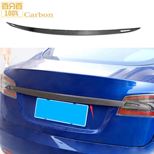 Trim Carbon-Fiber Tesla-Model Rear-Trunk-Lid-Cover Black Boot for Tail Glossy Waterproof