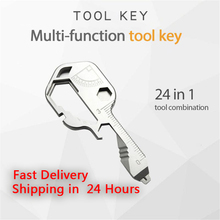 Pocket-Tool Screwdriver Bottle-Opener Multi-Keychain Stainless-Steel for with 24-In-1