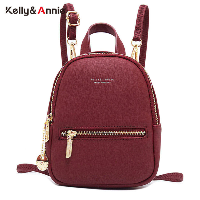 Forever Young Designer Women Backpack Mini Soft Touch Leather Small Backpack Female Fashion Ladies Bagpack Satchel Shoulder Bag|Backpacks| |  - title=