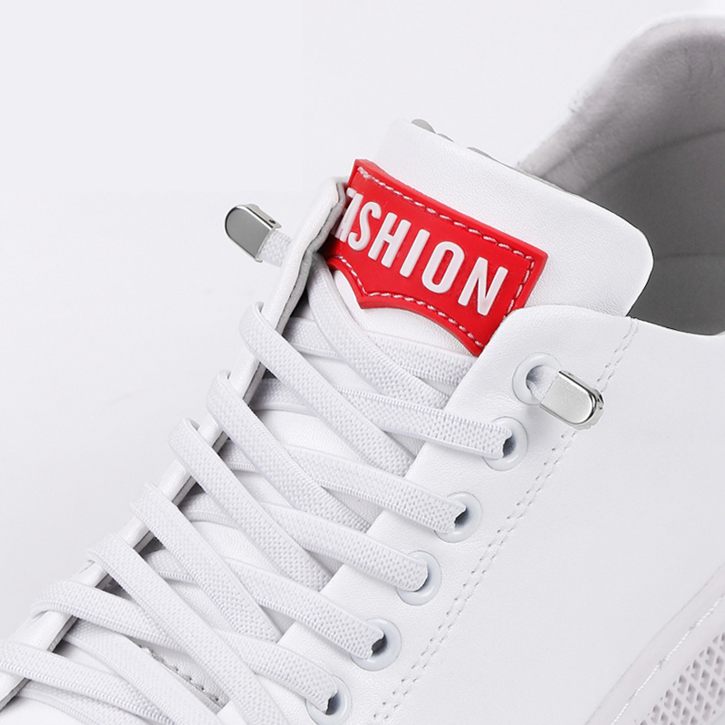 White Flat No Tie Shoelaces Press The Metal Lock Fast Elastic Shoelace Child And Adult Leisure Sneakers Lazy Laces 1 Pair