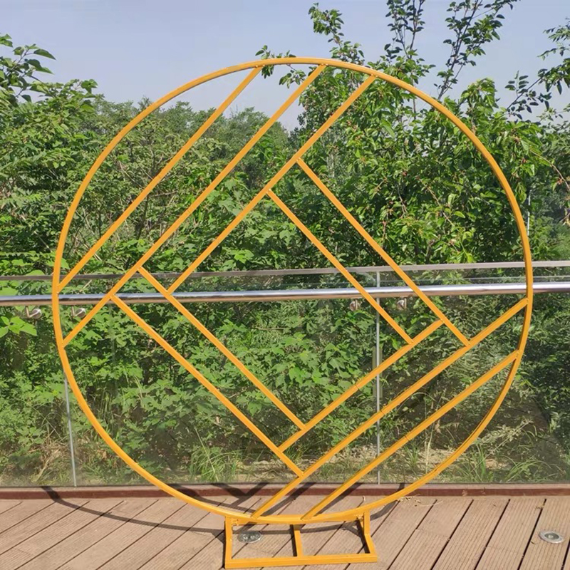 JAROWN Ring Iron Wedding Arch Frame Props Wedding Flower Backdrop Stand Circle Arch Flower Outdoor Lawn Wedding Flower Door Road Leading Birthday Party Decor (3)