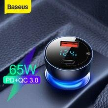 شاحن سيارة USB Baseus 65W سريع الشحن 3.0, شاحن سيارة لأجهزة iPhone MacBook Samsung شاشة LED لأجهزة الكمبيوتر المحمول