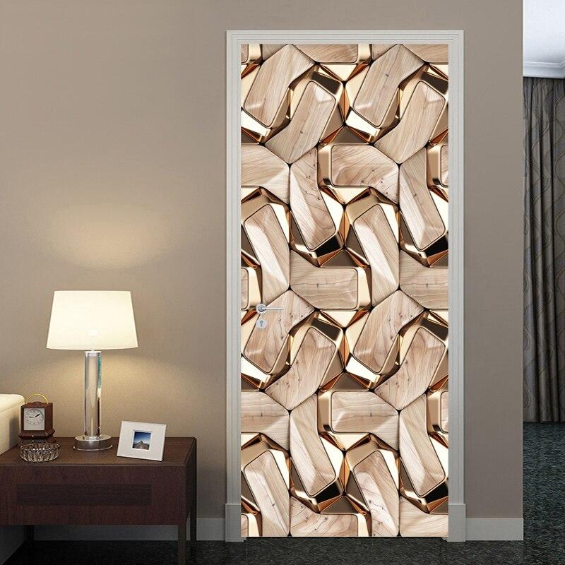 Modern Creative 3D Stereo Golden Line Wallpaper Self-Adhesive Waterproof Door Sticker Living Room Hotel Art Wall Stickers Poster