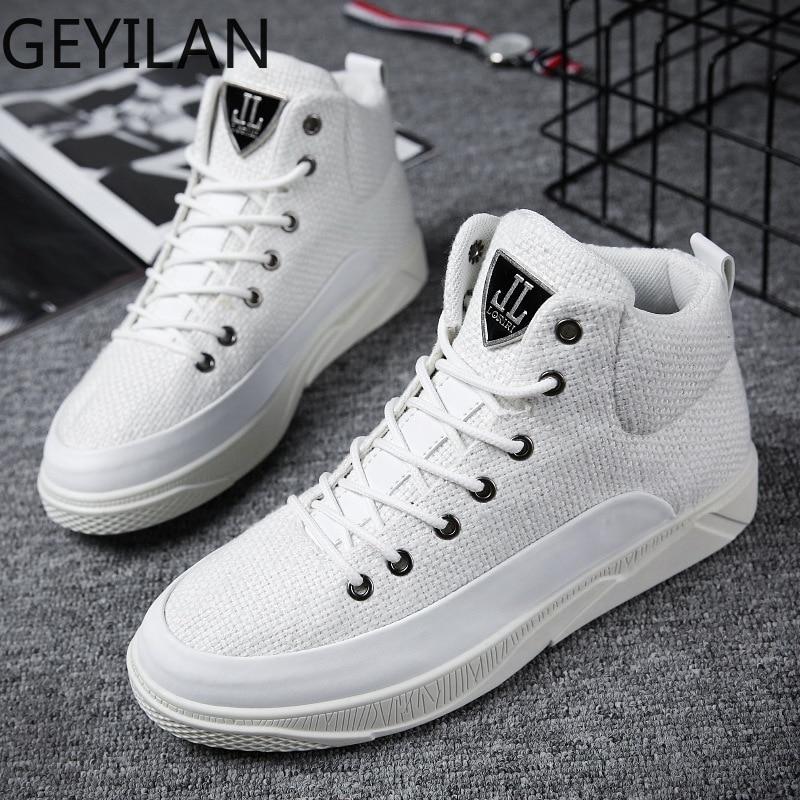 Мужские кроссовки с высоким берцем, верх из пеньки, дышащая обувь черного и белого цвета, модная брендовая обувь, мужская повседневная обувь - 5