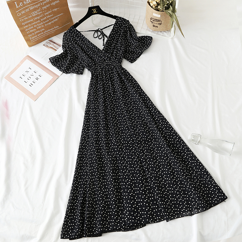 Summer Fairy Dress Women French Style Vintage Retro Chiffon Dress Short sleeve Casual Elegant Floral Print Dress Women 2021 New 12
