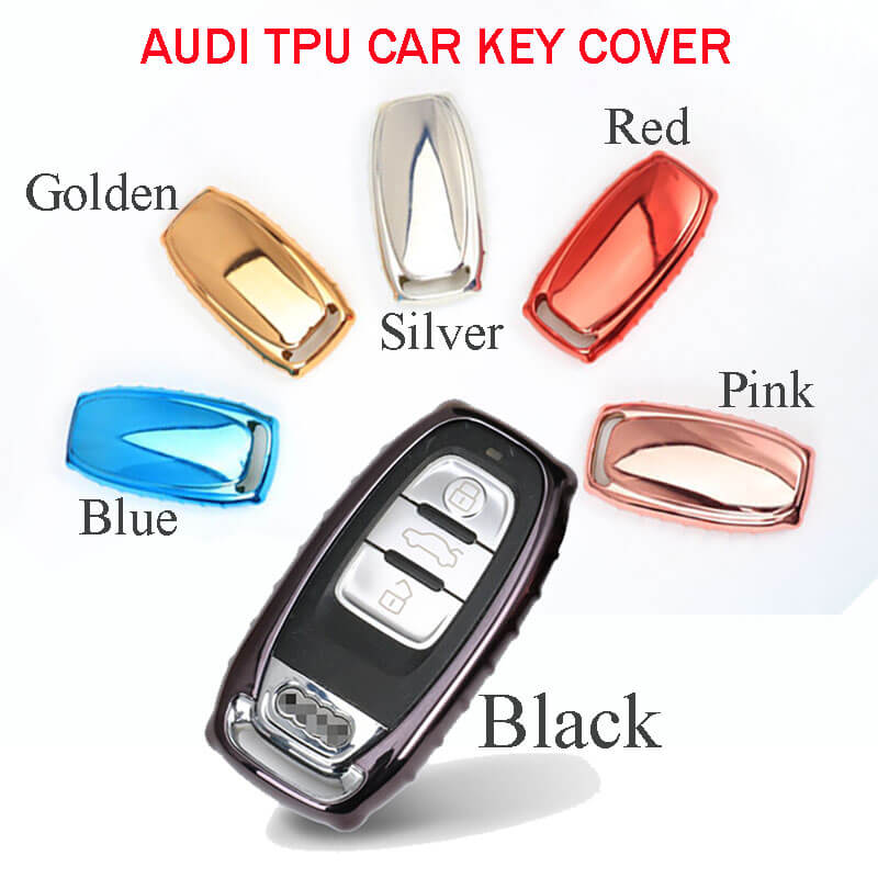 Luxury Soft TPU Car Key Cover Case For Q7 Q5 Keyless Entry Smart Remote Fob Silver/Black/Pink/Gold/Blue/Red Color