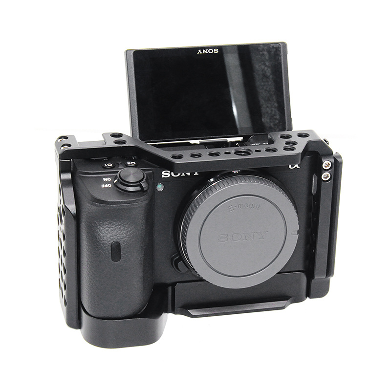Camera Cage for Sony a6600 Pro Camera Cage L Quick Release Plate Double Head Cold Shoe Stabilizer Rig Cage For Sony A 6600
