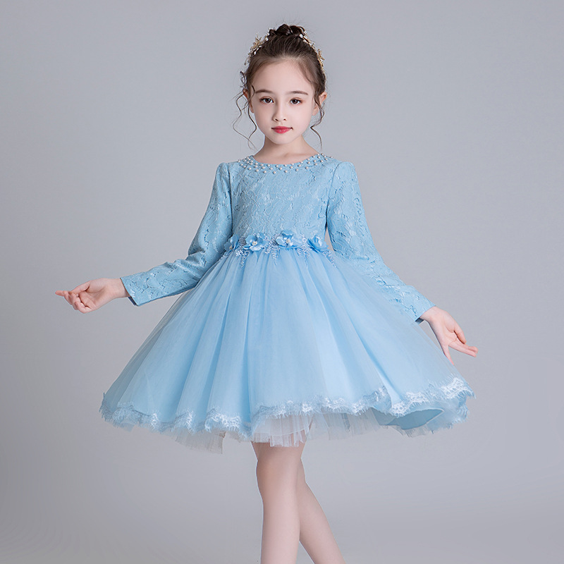 2019 Autumn And Winter New Style Girls Princess Dress Long Sleeve Short CHILDREN'S Full Dress Mesh Dress