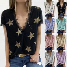 Women's Summer V Neck Casual T Shirts Lace T-shirt Women Casual Ladies Short Sleeve Basic Tees y2k Loose Femmel Tops