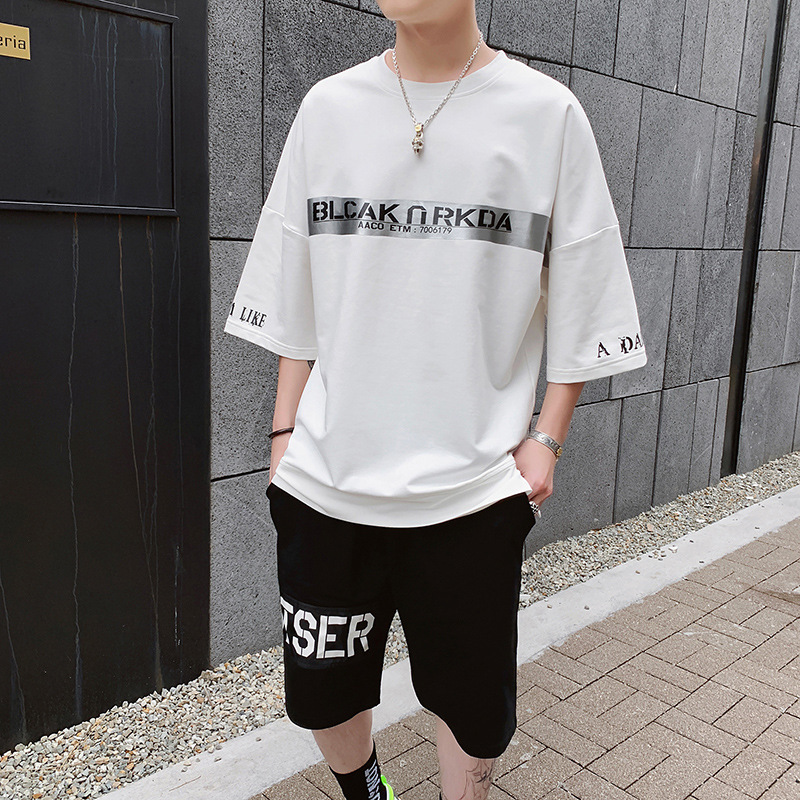 Summer Short Sleeve T-shirt Capri Pants Boy Sports Casual Workwear Set Teenager Junior High School Students Trend Hoodie