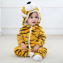 Winter Cute Cartoon Flannel Baby Rompers Novelty Tiger Cotton Boys Girls Animal Stitch Babys Sets
