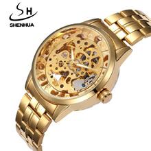 Zegarki shenhua Luxury Business złote zegarki mężczyźni automatyczne Self Wind mechaniczne zegarki męskie zegarki szkieletowe męskie zegarki na rękę tanie tanio Bransoletka zapięcie 3Bar Stop Automatyczne self-wiatr 23cm Moda casual Okrągły Nie pakiet 20mm Odporny na wstrząsy
