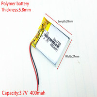 3.7V,400mAH,[582728] PLIB; polymer lithium ion / Li-ion battery for SMART WATCH,GPS,mp3,mp4,cell phone,DVD,SPEAKER