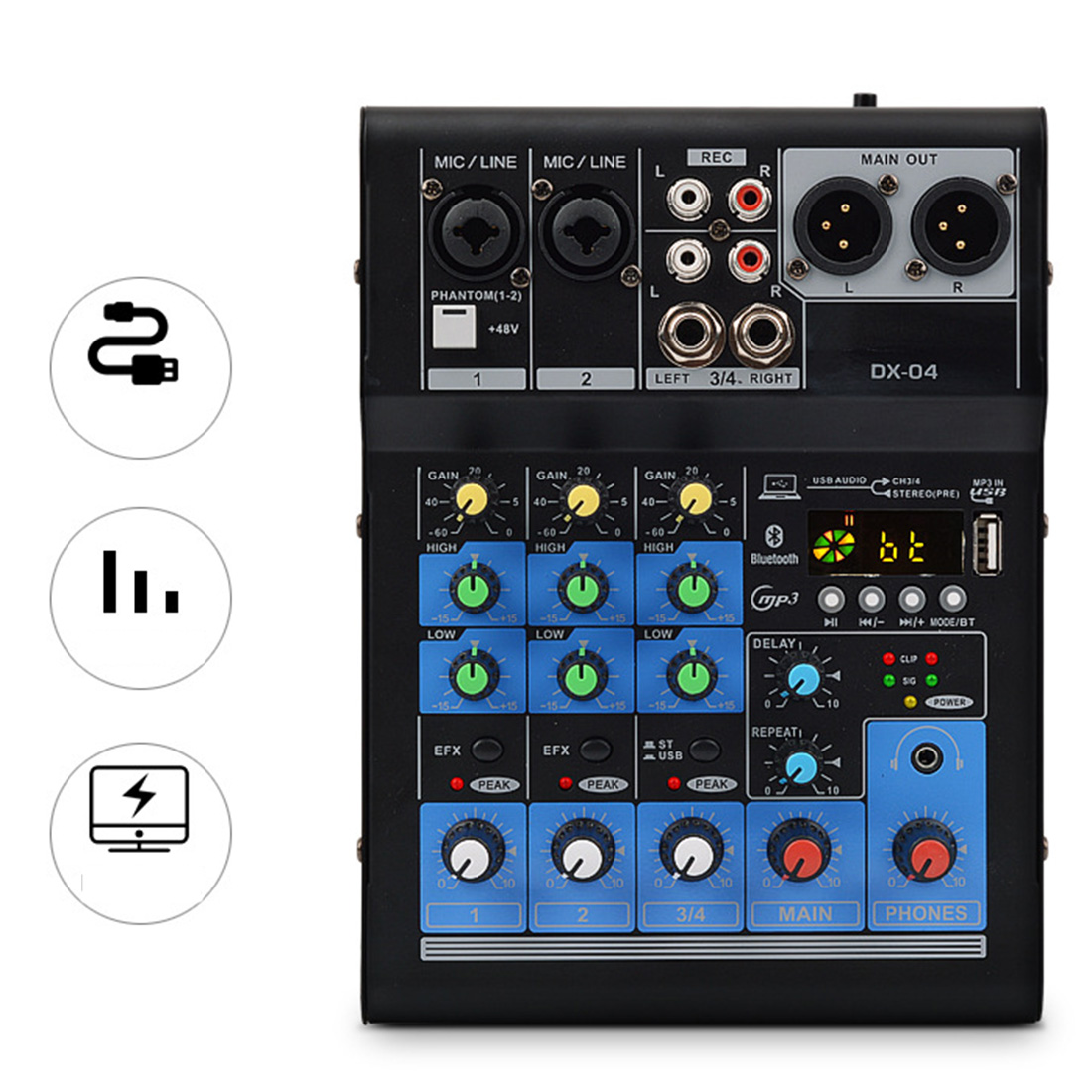4 Channel Bluetooth USB Cable Professional Stage Performance Audio DJI Mixer Sound Board Console Mixing Station Controller - EU