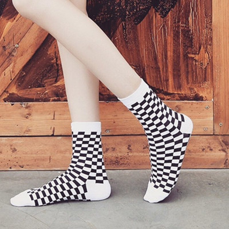 Korea Funky Harajuku Trend Women's Chess Socks Geometric Plaid Socks Men's Hip Hop Cotton Unisex Streetwear New Socks